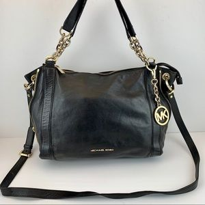 Michael Kors Black Leather Shoulder Bag W/ Strap